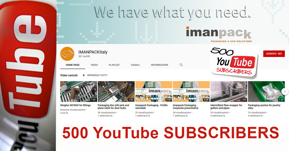 500 SUBCRIBERS to our IMANPACKItaly YouTube Channel