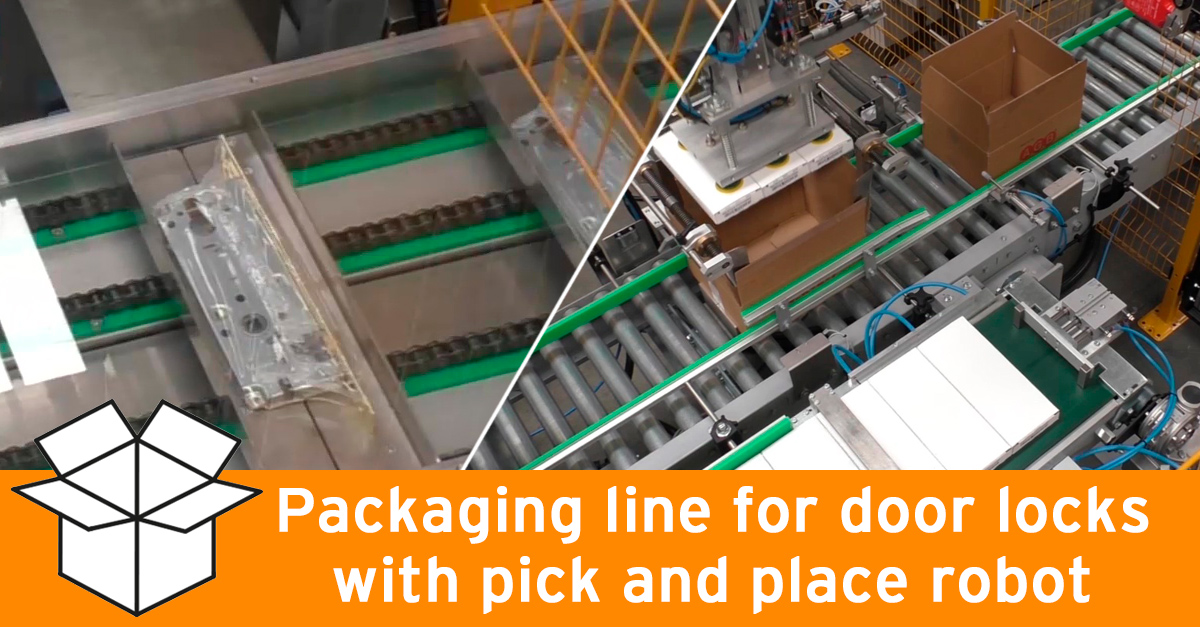 Packaging line for door locks with cartesian robot