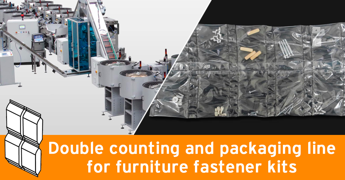 Double counting and packaging line for furniture fastener kits