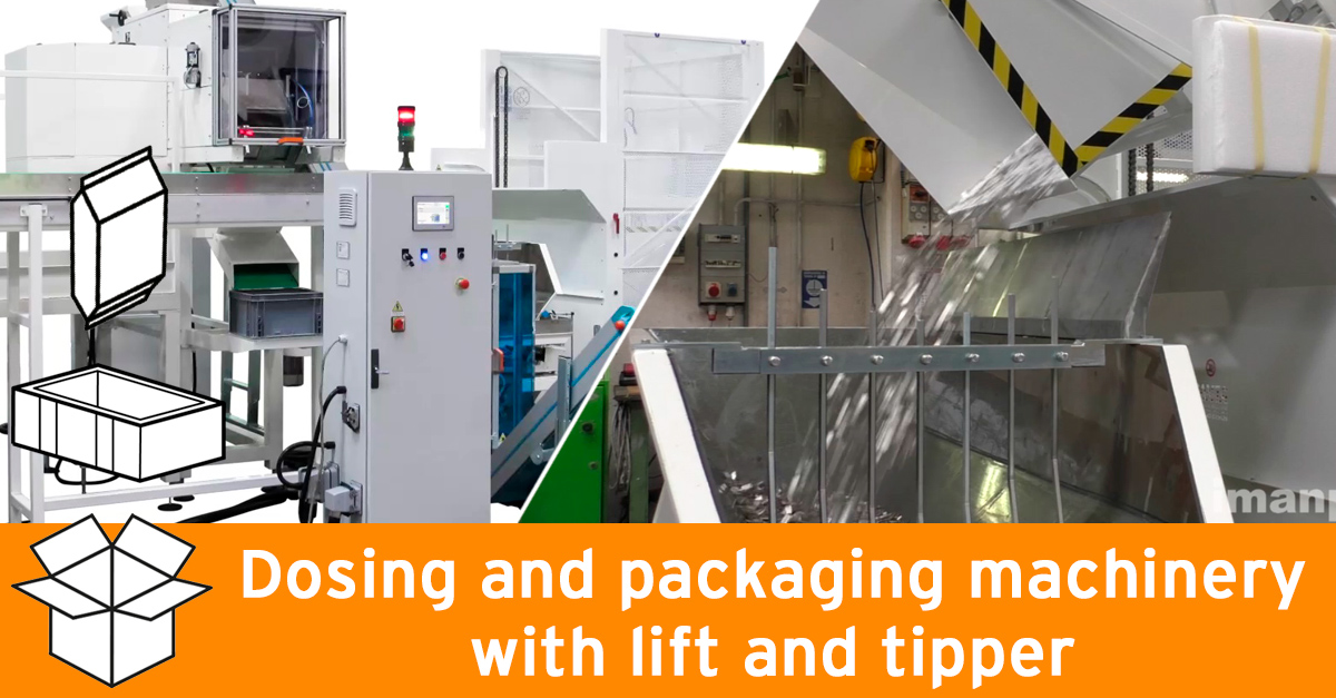 Dosing and packaging machinery with lift and tipper